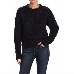 Dee Elly Black Fuzzy Knit Crew Neck Sweater